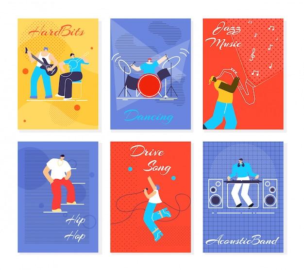 Música gente fest tarjetas plano vector ilustración