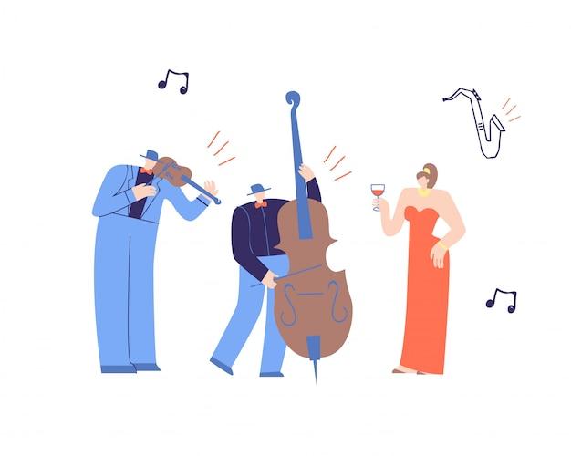 Música gente tocando música clásica plana de dibujos animados