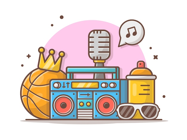Música hip hop con baloncesto, boombox, gafas, corona y micrófono icono vector ilustración. icono música concepto blanco aislado