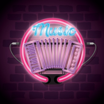 Música iluminated neon label vector illustration design