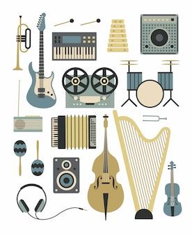 Música, ilustración plana, conjunto de iconos de instrumentos musicales