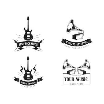 Música, insignias, etiqueta, vector