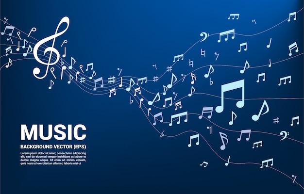 Música melodía nota bailando flujo