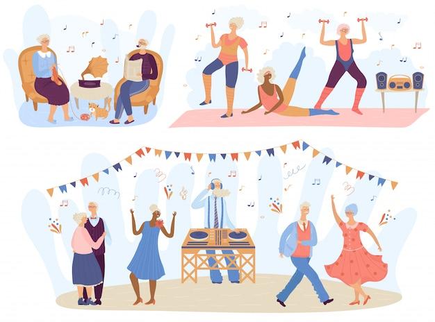 Música de personas mayores de edad avanzada, ilustración de personajes de dibujos animados