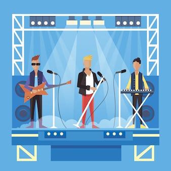 Música pop o rock grupo vector ilustración de dibujos animados eps10