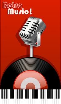 Música retro con micrófono y grabadora