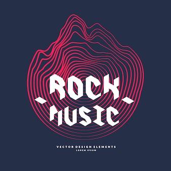 La música rock. cartel de la onda sonora.
