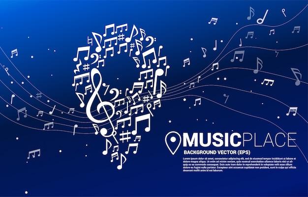 La música de vector melodía nota en forma de icono de pin concepto para festival de música y sala de conciertos.