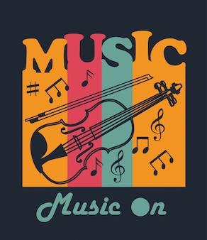 Música de violín para diseño de camiseta.