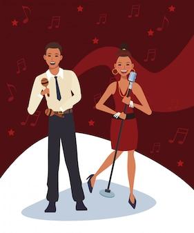 Músico de dibujos animados con maracas y cantante