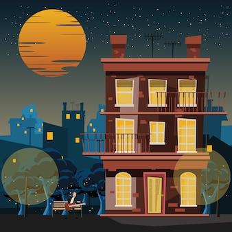 Músico en el edificio en la ilustración de vector de noche