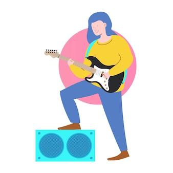 Músico con estilo de dibujos animados de carácter de guitarra eléctrica