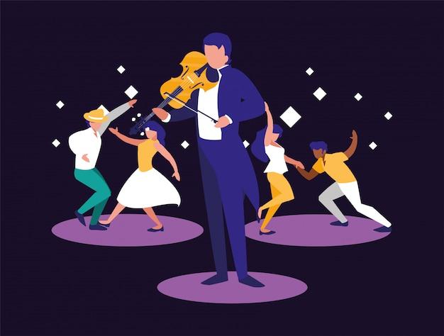 Músico hombre y bailarines