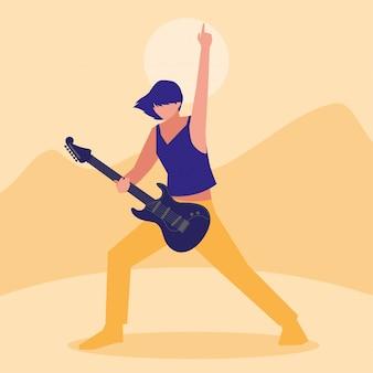Músico hombre tocando la guitarra eléctrica