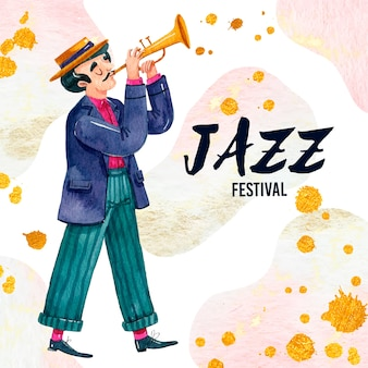 Músico ilustrado del día internacional del jazz