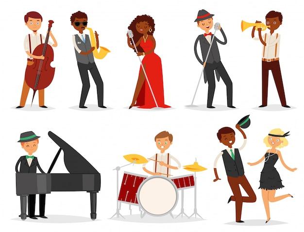 Músico de jazz personaje tocando instrumentos musicales batería de saxofón y piano ilustración conjunto de música del cantante bailarín saxofonista y baterista sobre fondo blanco.