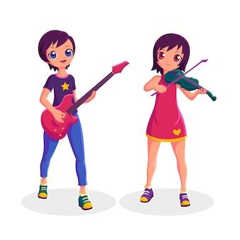 Músico de mujeres tocando la guitarra y el violín