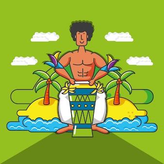 Músico personaje tropical brasileño