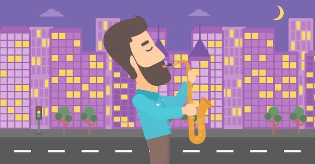 Músico tocando el saxofón.