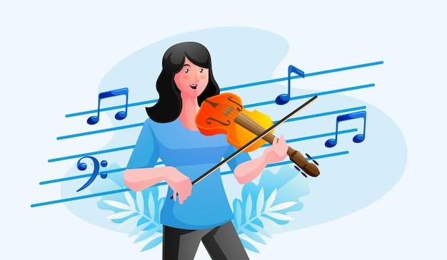 Músico tocando el violín con notas musicales