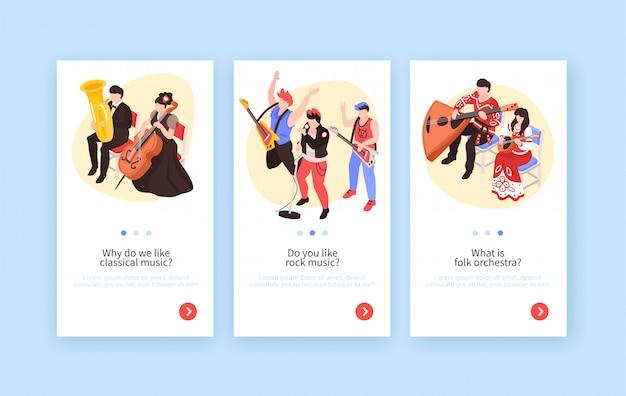 Músicos 3 pancartas verticales isométricas con música clásica, banda de rock y orquesta folklórica