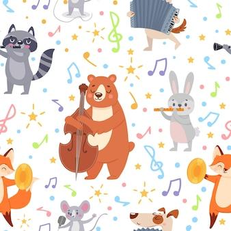 Músicos de animales de patrones sin fisuras. músicos de animales divertidos tocan diferentes instrumentos musicales, papel tapiz, envoltura o textura vectorial textil. animal músico con orquesta de instrumentos.