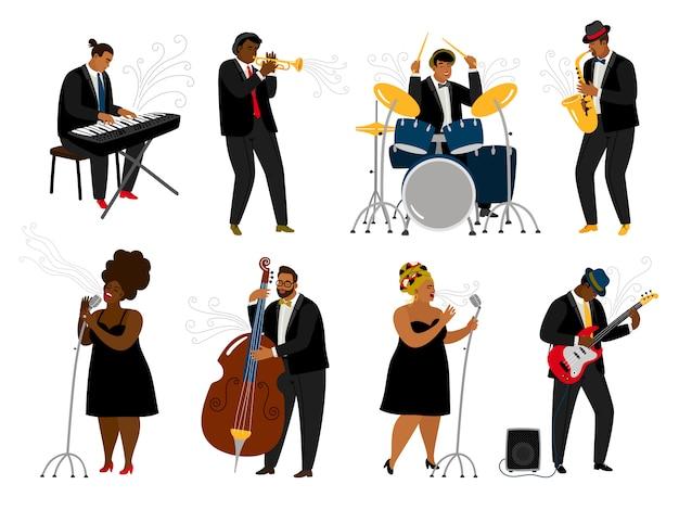Músicos de la banda de jazz de dibujos animados