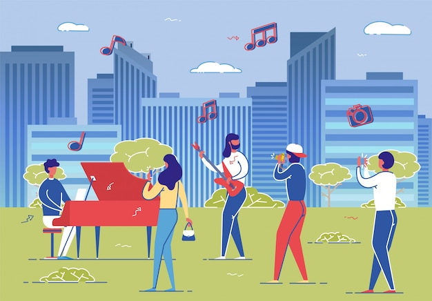Músicos callejeros performance men piano guitar play