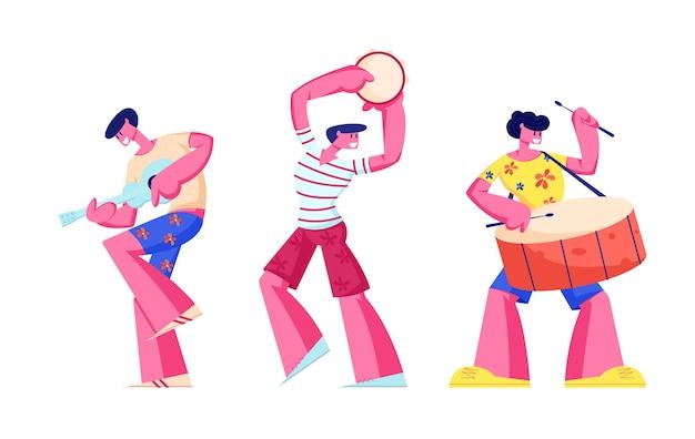 Músicos del carnaval de río aislados sobre fondo blanco. ilustración plana de dibujos animados