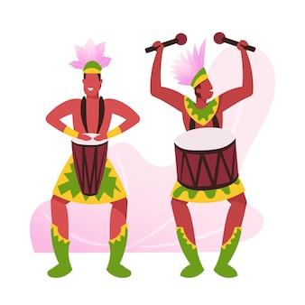 Músicos del carnaval de río en ropa de plumas sobre fondo blanco. ilustración plana de dibujos animados