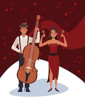 Músicos con instrumentos de violonchelo y maracas, banda de música jazz