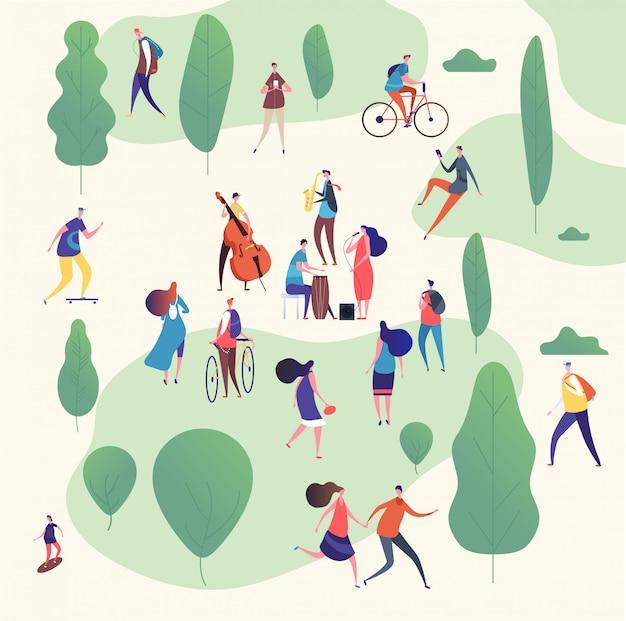 Músicos en el parque. banda de música con guitarras e instrumentos musicales tocando al aire libre rodeada de árboles. ilustración