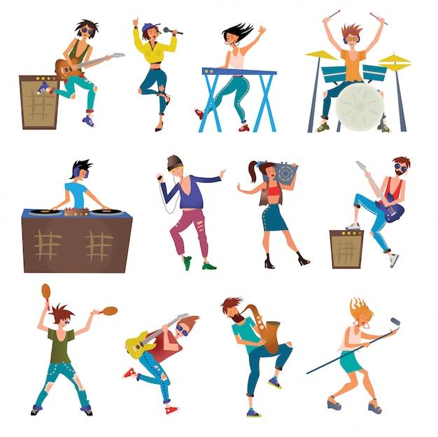Músicos personajes de dibujos animados tocando instrumentos musicales.