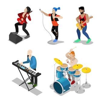 Músicos de rock isométrico con cantante, guitarrista y baterista. vector ilustración plana 3d