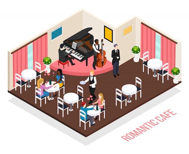 Músicos de la romántica cafetería pianista intérprete en contrabajo y clientes en mesas composición isométrica