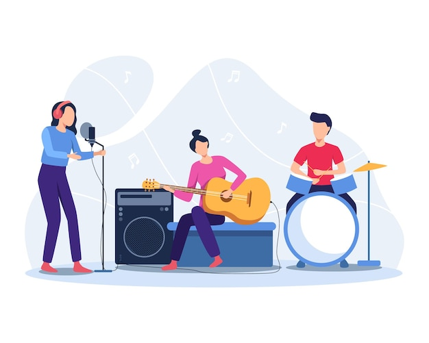 Los músicos tocan instrumentos musicales. ilustración de concierto de banda. ilustración en un estilo plano