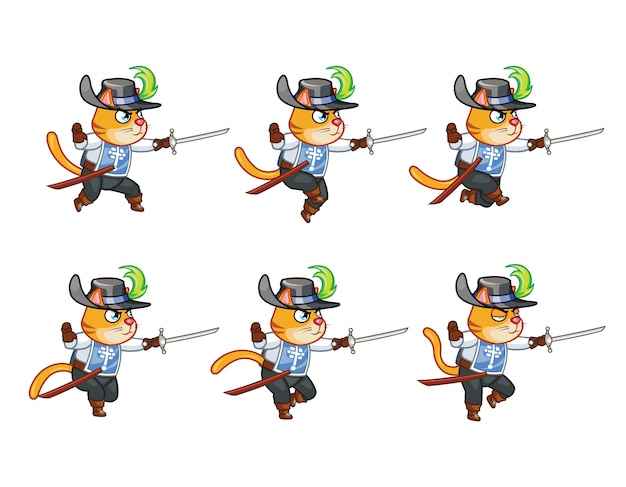 Musketeer cat sword man sprite