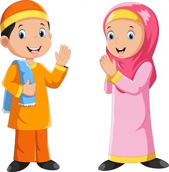 Musulmán, niño y niña