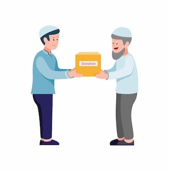 Musulmán que da la caja de donación a los pobres y ancianos en el vector de ilustración plana de dibujos animados