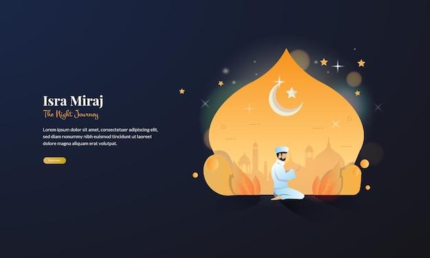 Un musulmán reza por la noche para celebrar de isra miraj