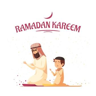 Musulmanes árabes ramadán kareem de dibujos animados