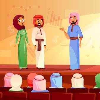 Los musulmanes en conferencia ilustración de arabia saudita hombre y mujer en khaliji y hijab