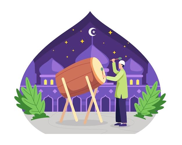 Musulmanes felices golpeando el tambor y celebrando el eid mubarak. ilustración en un estilo plano