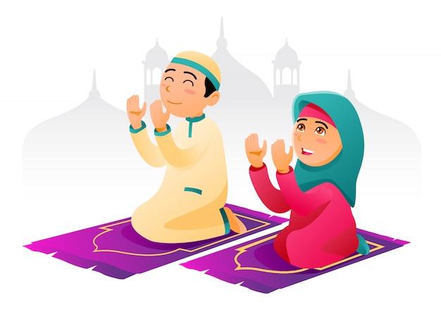 Musulmanes orando con masjid en el fondo