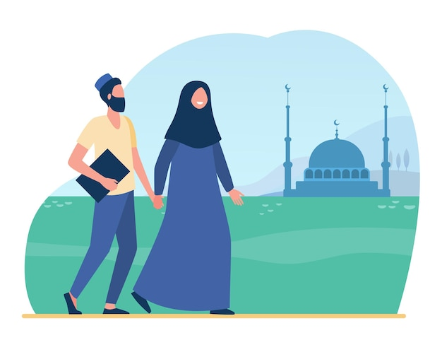 Los musulmanes van a la mezquita. islam, hijab, adoración ilustración plana. ilustración de dibujos animados