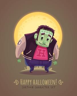 Mutante espeluznante. concepto de personaje de dibujos animados de halloween. ilustración.