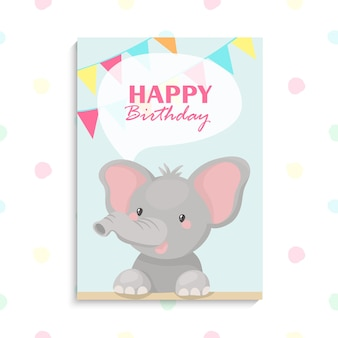 Muy lindo cumpleaños de elefante bebé