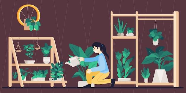 My secret garden, mujer jardinería interior