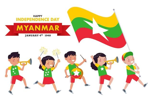 Myanmar, niños de diversas tribus desfilan para conmemorar y celebrar el día de la independencia de myanmar