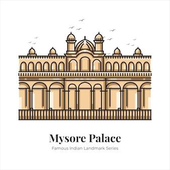 Mysore palace indian famoso emblemático hito de dibujos animados ilustración de arte de línea